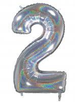 Zahlenballons glitter holografisch 66 cm/ 26 inch