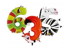 Zahlenballons  Tiere 102 cm/ 40 inch