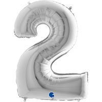 1 Folienballon Zahl 2 silber