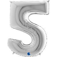1 Folienballon Zahl 5  silber