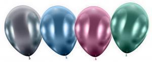 4 Maxiballons Glossy metal bunt/ Maxi Balloons  colourful