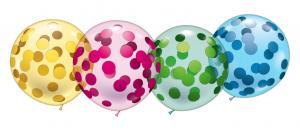 4 Riesen-Kristallballons Konfetti/ 4 Giant Crystal-Balloons Confetti