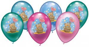 6 Balloons Baby  Teddy