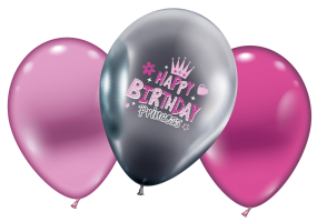 "6 Ballons/ Balloons ""Happy Birthday Princess"""