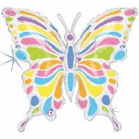 1 Folienballon Pastell Schmetterling 84 cm/ 33  inch holo
