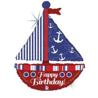 1 Foil Balloon Happy Birthday Pirate ship