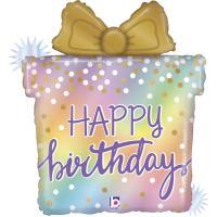 "5 Folienballons Happy Birthday Present - opal - 27"""