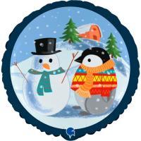 Schneemann mit Weihnachtspinguin