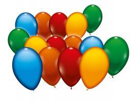 500 sortierte Ballons im Eimer