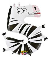 1 Foil Balloon Number 5 Zebra