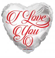 "1 Foil Balloon ""I Love you"" classic  white"