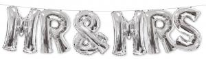 1 Foil Balloon Mr. & Mrs. silver - special price