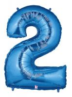 1 Foil Balloon Number 2 blue