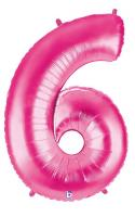 1 Foil Balloon Number 6 pink
