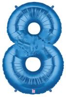 1 Foil Balloon Number 8 blue