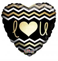 "1 Foil Balloon heart schwarz-gold   ""I Love you"""