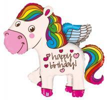 1 Folienballon Happy Birthday Pony