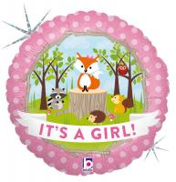 1 Foil Balloon Woodland Baby Girl