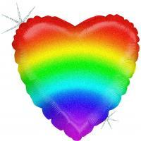 1 Folienballon Regenbogen Herz