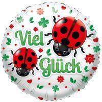 """1 Folienballon """"Viel Glück"""" Marienkäfer"""