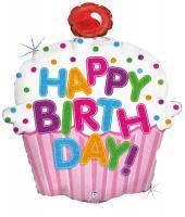 1 Foil Balloon Birthday Cupcake