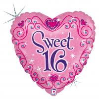 "1 Folienballon Herz ""Sweet 16"""