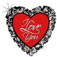 1 Foil Balloon Heart love damast
