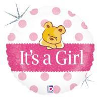 1 Foil Balloon It`s a girl Bear