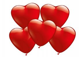 100 Heart Balloons red