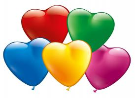 100 Heart Balloons assorted