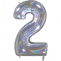 1 Folienballon Zahl 2  silber glitter holografisch 66cm