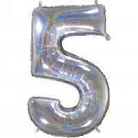1 Foil Balloon Number 5 silver glitter holografisch