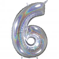 1 Foil Balloon Number 6 silver glitter holografisch