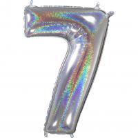 1 Folienballon Zahl 7 silber glitter holografisch 66cm