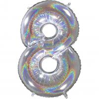 1 Foil Balloon Number 8 silver glitter holografisch
