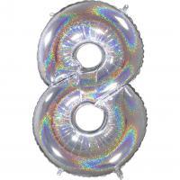 1 Folienballon Zahl 8  silber glitter holografisch 66cm