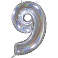 1 Folienballon Zahl 9  silber glitter holografisch 66cm