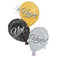 "5 Folienballons Happy New Year Ballon Trio 40"""