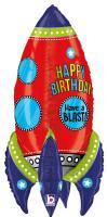 1 Folienballon Happy Birthday Rakete