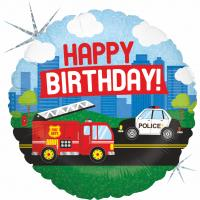 1 Foil Balloon Happy Birthday Emergency vehicle