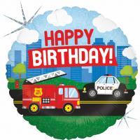 1 Folienballon Happy Birthday Feuerwehr & Polizei