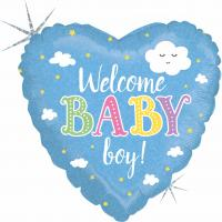 1 Folienballon Welcome Baby Boy