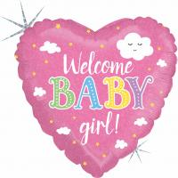 1 Folienballon Welcome Baby Girl