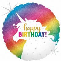 1 Foil Balloon Happy Birthday Unicorn