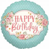 1 Folienballon Happy Birthday Vintage