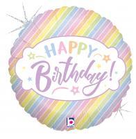 """1 Folienballon Pastell 46 cm/Pastel 18 """" """"Birthday"""" glitter"""
