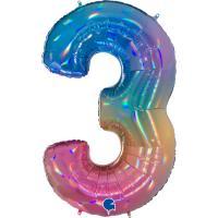 5 Folienballon Zahl 3 regenbogen glitter holografisch 66cm