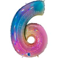 5 Folienballon Zahl 6 regenbogen glitter holografisch 66cm