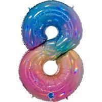 5 Folienballon Zahl 8 regenbogen glitter holografisch 66cm