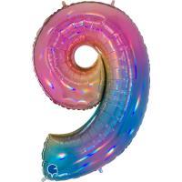 5 Folienballon Zahl 9 regenbogen glitter holografisch 66cm